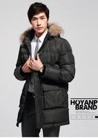 New 2014 male leather winter down jacket Hoyanp men down jacket winter jacket men long parka down man, L-3XL, Free Shipping!