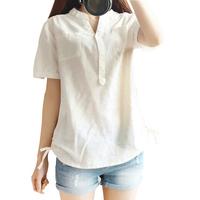 2014 Good Look V-neck Pockets Solid Blusas Femininas Casual All-match Long Sleeve Linen Women Blouses 8043