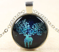 Star Deer Glass Cabochon Slide Silve Plating Pendant Necklace Handmade Glass Dome Jewelry Chirstmas Gift