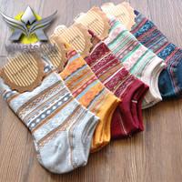 Quality 100% cotton classic female sock Slippers National Customs women's socks warm best design adult Stripes shape Christmas