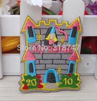 Free shipping 5.2*6.3cm Fairytale 's Castle Iron On Patch Embroidery Applique Diy Clothes Decoration 10pcs/lot 082007075