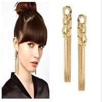 Fashion Lady Sexy Long Tassel Drop Earrings Women Night Club Jewelry Earrings Punk Chain Earrings Gold/Rose Gold/Silver