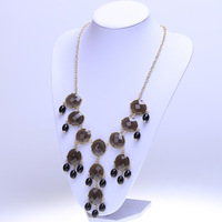 New design high quality jewelry fashion women color acrylic statement collar necklace love Necklaces & round pendants