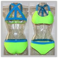 B508 Bandages Patchwork Swimwears For Women 2014 Sexy Triangle bikini set Push Up Brand Biquini Beach Wear Bathing Suit 2014 New