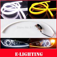 2x 45cm Flexible Soft Tube Style Amber White Switchback Headlight LED Strip DRL Daytime Running Light
