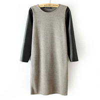 New 3 Colors Fashion Women Knitted Dress for Winter with PU Leather Patchwork Sleeve Lady Quality Dress NAS1395