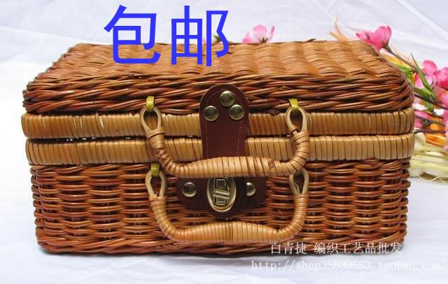 Rustic rattan home decoration nostalgic storage box finishing box storage box picnic basket(China (Mainland))