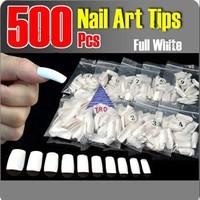 Cool White False Acrylic UV Gel Full French Nail Art Tips Manicures DIY 500 PCS