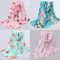 Chiffon Scarf Women High Quality Gradual Solid Color Chiffon Georgette Silk Scarves Shawl Female Long Design