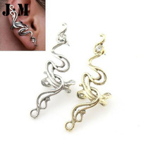 2014 New arrival Hot Wholesale fashion crystal earrings for women,gold/silver metal clip earrings,punk big earrings