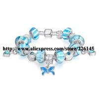 With Original Box New European Style Charm Glasses Gold Beaded Bangle Bracelets Handmade bracelets PA1311 suit for European