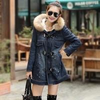 Hot New Patchwork Plus Size Long Sleeve Denim Jacket 2014 Fashion Zipper Hole Wide-waisted Women Coat 272