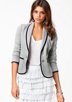 2014 New Blazer Jackets Women's Spring Fashion Slim Short Design Turn down Collar Blazer Grey Short Coat Jackets For Women