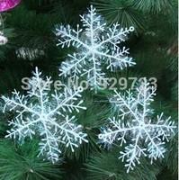 2014 New christmas snowflake plastic 6cm christmas Decoration for Trees / Windows / Showcase Free Shipping Ornament Supplies