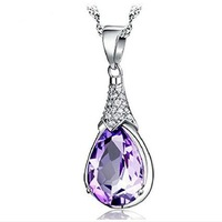 F10243 JMT 1 Piece Women's Purple Wish stone Drop Pendant (No necklace) for Women + freeshipping