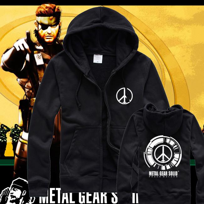 Free Shipping Metal Gear Solid Peace Walker Zipper Cardigan Hooded Coat MGS PW Logo Sweatshirts Cashmere For Winter(China (Mainland))