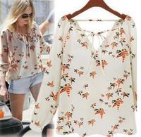WAQIA New Fashion Ladies' elegant floral print blouse V-neck casual vintage shirt slim high quality brand designer tops autumn