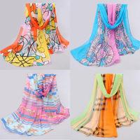 free shipping Nice Chiffon Scarf Women High Quality Gradual colors chiffon georgette silk scarves shawl female long design