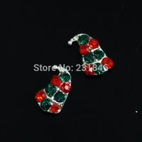 30pcs/lot 4x8mm Mix Green Red Rhinestones Crystal Lovely Xmas Hat Sliver Back 3D Nail Art Tips Cellphone DIY Design Decoration