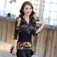 2014 Vintage Spring Slim Long Sleeve Women Shirt Fashion Lace Crochet Patchwork V-neck Plus Size Femininas Blusas 6012