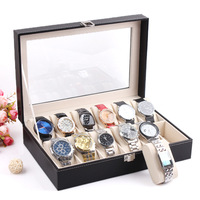 Watch Display Organizer Jewelry bracelet Storage Slot gift Case  Box New and Fashion 12 Grid Black Leather