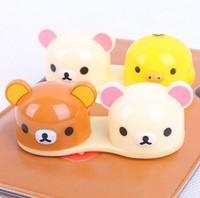 free shipping 20pcs/lot Wholesale New Fashion San-x Rilakkuma bear contact lenses box/contact lens case/lens Companion box