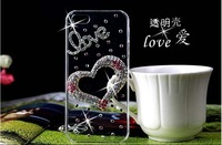 2014 New Rhinestone Diamond Case Back Cover Skin Case Transparent Protector Case For iPod Touch 5 5th ,Free Shipping