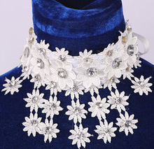 Princess Lace Flower Beads Crystal Bridal Shoulder Necklace Sunflower Necklace Marriage Necklace Accessory