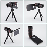 4-12X Zoom Optical Mobile Phone Telephoto Lens Telescope Camera with Tripod Case for iPhone 5 5S 6 6 Plus Samsung Galaxy S5 New
