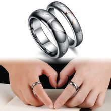 Wholesale Tungsten Steel Silver Half Heart Simple Circle Real Love Couple Rings Wedding Rings Engagement Rings 242