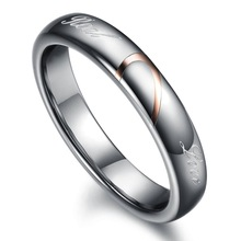 Wholesale Tungsten Steel Silver Half Heart Simple Circle Real Love Couple Rings Wedding Rings Engagement Rings