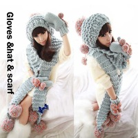 1 lot=(Gloves+hat+scarf )Winter SETS For Women Warm Twist Knitted Hat Fashion scarf