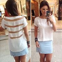 2014 summer new white stripe chiffon gauze stitching casual sexy blouse EL-1021-07