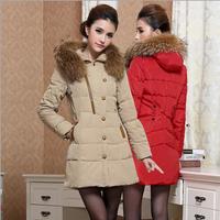 New Women Coat Thick Fur Collar Hooded  Zipper Pockets Fashion Casual Slim Warm Winter Parkas Down Jacket  Free Shipping XX690