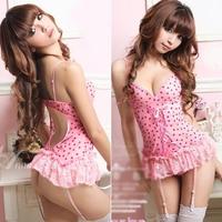Round Dot Lace Pleated Hem Sexy Lingerie Ladies Backless Babydolls Corset Dress+G string Set#66731