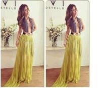 2014 Fashion Women's Autumn dress Yellow Spaghetti Strap Hollow Out Asymmetric Evening Party Maxi  Dress KF107 S M L Plus Size