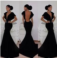 2014 New Sexy Autumn Fashion dress Black Backless V-Neck Bodycon Mermaid Maxi Party Dress evening dress KF046 S M L Plus Size