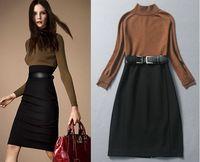 Winter fashion high quality women's woolen sweater dress knee-length sheath work wear office dress