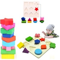 Hot selling Kids Baby Wooden Learning Geometry Educational Toy Block Puzzle Montessori Early