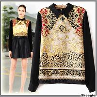 2014 Fashion Costume Women Autumn retro print totem doll collar long-sleeved chiffon blouse zipper Shirts Europe Hot sale