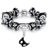 With Original Box New European Style Charm Glasses Gold Beaded Bangle Bracelets Handmade bracelets PA1402 suit for European