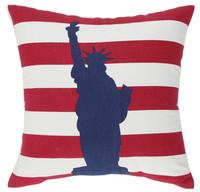 New Red White Stripes USA Statue of Liberty Fashion Art Decorative Car Sofa Home Pillow Case Cushion Cover Throw Sham