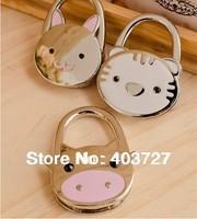 Cute animal enamel polished animals Foldable Hangbag purse bag hooks hangers holders, 3pcs/lot, 6 styles available