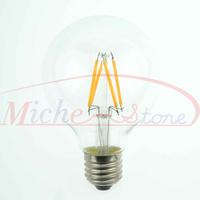 2015 New 2500K Edison G80 4W Glass Warm White LED Bulb Lamp E27 Energy Saving Light 200V-240V High Lumen 5pcs/lot