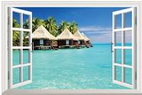 New HD  Pattern Beach Seaview Fake Window Sticker 120*80cm Sofa Background Art Mural Home Decor PVC Removable Wall Sticker hj-25