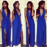Fashion Women's Autumn dress 2014 Blue Deep V-Neck Sleeveless Dress Floor-Length Party Evening Maxi  Dress KF060 S M L Plus Size