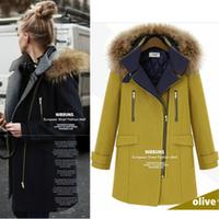 2014 fashion thick plus size wool coat women fashion zipper cap winter wadded jacket outerwear female parkas Free Shipping