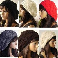 New Knitting Unisex  Beret Fashion Baggy Beanie Hat Ski Cap 6 Colors Elastic