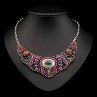 N-Z Vintage Acrylic Necklace Full of Color Beads for Women Statement Luxury Pendant Jewelry of Rhinestones 2 Colors JS-NL-01826