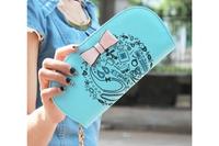 Popular Women PU Long Purse Wallet with Printings&Bowknot Zipper Closure Handbag for first service